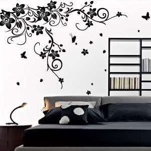 Large Vine Flower Butterfly Wall stickers / Wall decal  120*170cm