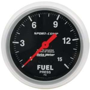 Diameter 0 15 PSI Mechanical Auto Meter Sport Comp Fuel Pressure Gauge