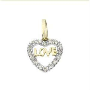 14k Solid Yellow Gold Diamond Love Heart Pendant 17108