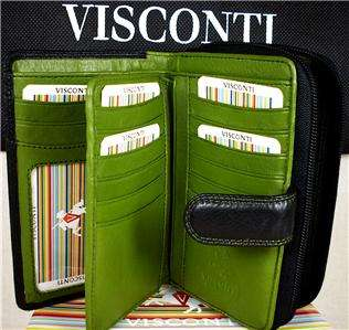 TOP QUALITY VISCONTI LADIES PURSE WALLET SOFT LEATHER BLACK/GREEN gift