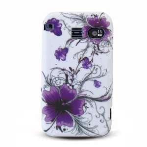 White with Purple Flower Soft Silicone Skin Gel Cover Case