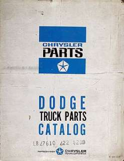 1965 Dodge Original Parts Book Pickup Truck Power Wagon