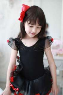 Girls Black Party Leotard Ballet Tutu Dance Costume Dress Fairy Skirt