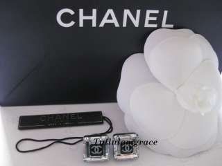 AUTH CHANEL BLACK SQUARE CLEAR CRYSTAL CC EARRINGS $599