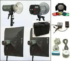 600W/S 2 STUDIO STROBE LIGHTS/2 Soft Boxes/BarnD. NEW