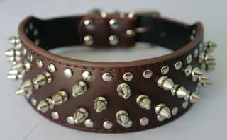 Studded Leather Dog Collars Pit Bull dog Boxer German shepherd