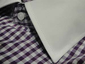STEVEN LAND COTTON SHIRT SPREAD PURPLE WHITE GINGHAM CHK FRENCH CUFF