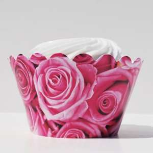 Cupcake Pink Roses Wedding Cupcake Wrappers, Set of 12   Fun Cupcake