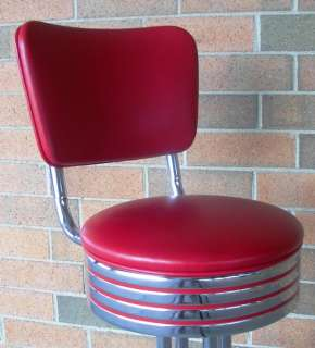Vitro Seating 50s Style DINER STOOL Red/Chrome Pub Chair Bar Barstool