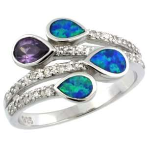 Sterling Silver, Synthetic Opal Inlay Ring, w/ Pear Shape Amethyst CZ