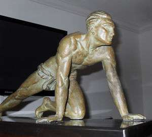 de Roncourt signed Sculpture, Athlete French Art Deco
