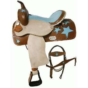 Turquoise Ostrich Barrel Saddle & Tack With Stars Sports