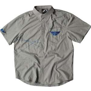 Fly Racing Pit Mens Polo Sportswear Shirt   Grey/Navy