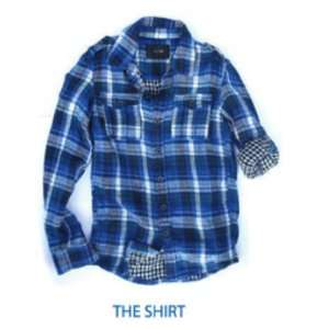 Joes Jeans Royal Blue Plaid Long Sleeve Flannel Shirt