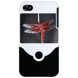 iPhone 4 or 4S Slider Case White Red Flame Dragonfly