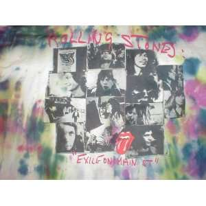 STONES X LARGE EXILE ON MAIN STREET TIE DYE T SHIRT