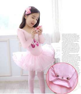 Girl Party Long Sleeve Leotard Ballet Tutu Dance Costume Dress 3 8Y