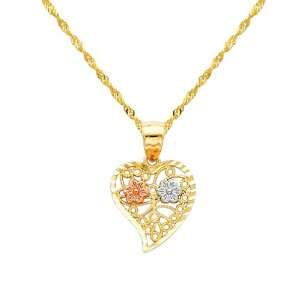 Gold Flower in Heart Charm Pendant with Yellow Gold 1.2mm Singapore