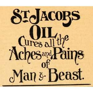1893 Ad St. Jacobs Oil Ointment Pain Relief Man Beast