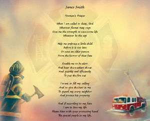 Firemans Prayer Personalized Poem Gift For Firefighter