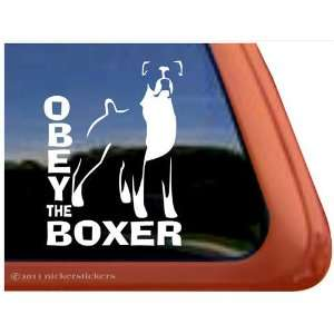 Obey the Boxer Dog Vinyl Window Dog Decal Sticker