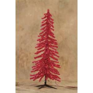 Pre Lit Fire Engine Red Alpine Tinsel Christmas Tree With G15 Bulbs