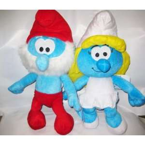 The Smurfs 14 Plush toy 2 Pcs set    Smurfette , Papa