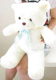 New Large Awesome White Plush Teddy Bear Tie Toy 32H