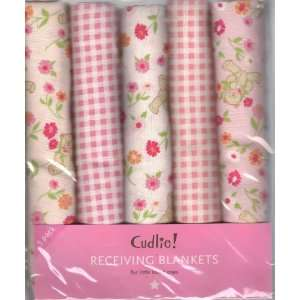 Pack Flannel Receiving Blankets Pink Teddie Bears Gingham Floral Baby