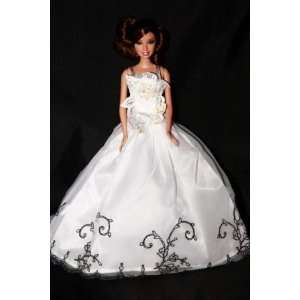 Elegant White Ball Gown w/ Black Embroidered Trim