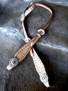 HORSE BRIDLE WESTERN LEATHER HEADSTALL TAN TURQUOISE BLING STAR RODEO