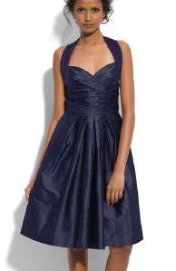 158 Suzi Chin Charmeuse & Silk Shantung Halter Dress 2 (Navy)