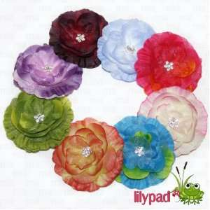 Lilypad Brand  8 Piece Two Tone Colored Buttercup Hair Flowers Baby