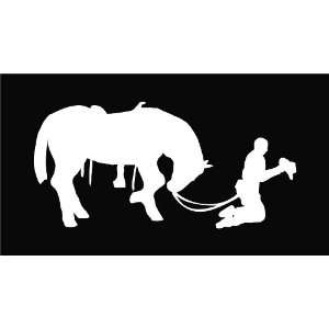 Cowboy Praying with Horse Die Cut Vinyl Decal Sticker   6