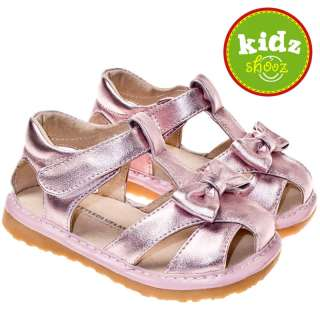 Girls Toddler Leather Squeaky Shoes Sandals Pink & Bow