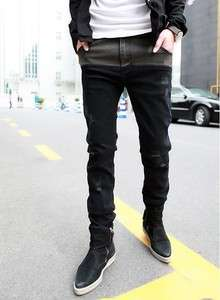 New Fashion Mens Slim Fit Splice Jeans Trousers Black KU0001