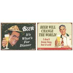Humor Tin Metal Sign Bundle   2 retro signs Beer For Dinner, Change