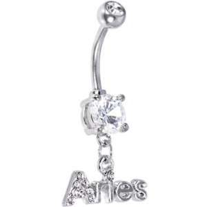 Crystalline Gem ARIES Dangle Belly Ring Jewelry
