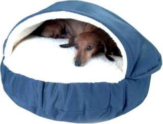 SMALL BLUE THICK PET CAVE DOG BED ~ PADDED WOOL