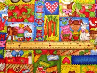 Kids Children Farm Chicken Pig Horse Cow Tractor Fabric BTY