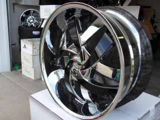 Wheel + Tire Packages 22 inch Triple chrome rims V825