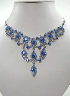 SAPPHIRE COLOR BLUE RHINESTONE CRYSTAL NECKLACE & EARRINGS SET C346