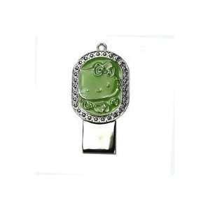 8GB Diamond Jewelry Cat Shaped USB Flash Drive Green