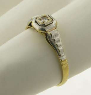 Antique Art Deco Diamond 18K White & Yellow Gold Ring