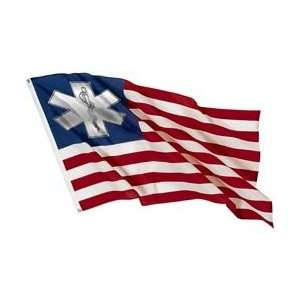 American Flag Graphic Sticker with EMS EMT Star or Life   12 h x 18.5