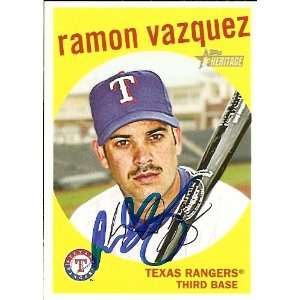 Ramon Vazquez Signed Rangers 2008 Topps Heritage Card