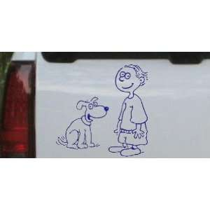 Blue 16in X 16.0in    Child With Dog Stick Family Car Window Wall