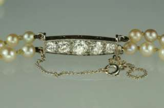 Art Deco 2 strand Pearl Necklace 1.2ct Old European Cut Diamond Clasp