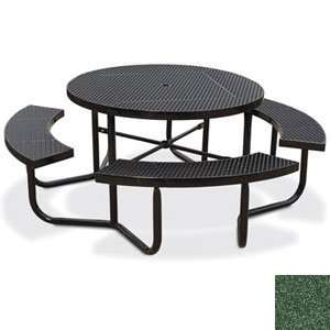 Eagle One Portable Round Expanded Metal Table with 4 Seats   Evergreen