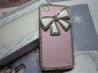 New Pink Luxury Lovely Bow Leather Rhinestone Bling Case Cover for